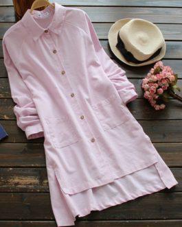 Lapel Pocket Irregular Shirts