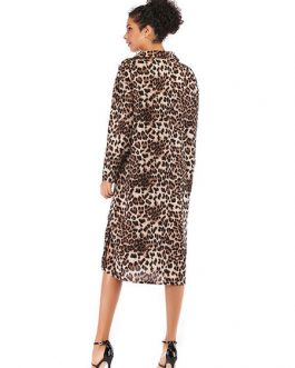 Leopard  Printed  Shirt Split Midi Dress