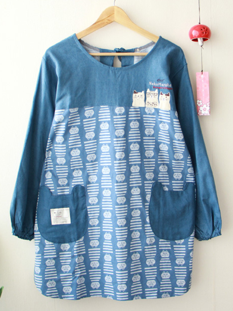 Long Sleeve Apron Vintage Dress