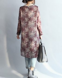 Long Sleeve Buttons Floral Shirt Dress