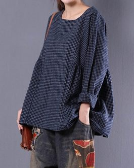 Long Sleeve Crewneck Plaid Loose Blouse
