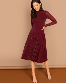 Long Sleeve Glitter Fit Flare A Line Dress