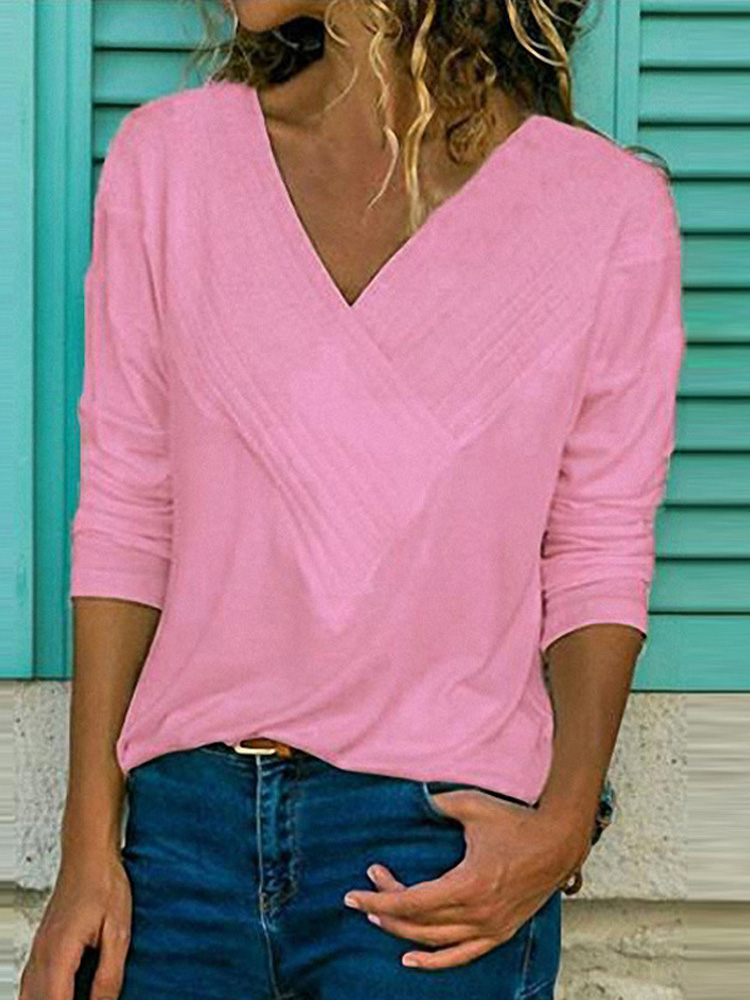 Long Sleeve Pure Color Blouse3