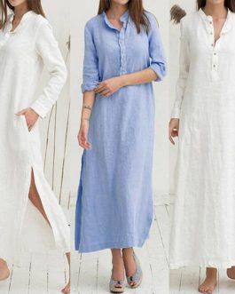 Long Sleeve Turn-Down Collar Button Shirt Dress