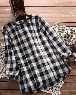 Loose Plaid Long Sleeve Women Blouse