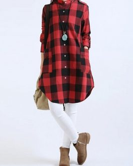 Loose Pocket Button Long Blouses