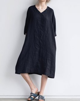 Loose V-Neck 3/4 Sleeve Dress with Pockets