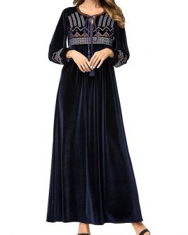 Maxi length embroidered navy floor
