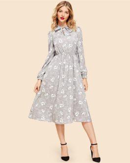 Vintage Grey Flared Minimalist Solid Elegant Dresses