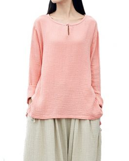O-Neck Long-Sleeved Cotton Linen Tops