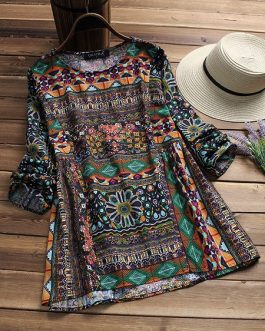 O-neck Long Sleeve Floral Blouse