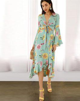 Pastel Green Ruffle Wrap Hem Floral Skirts