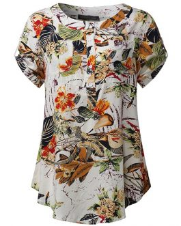 Patchwork Short Sleeve Rayon Blouses