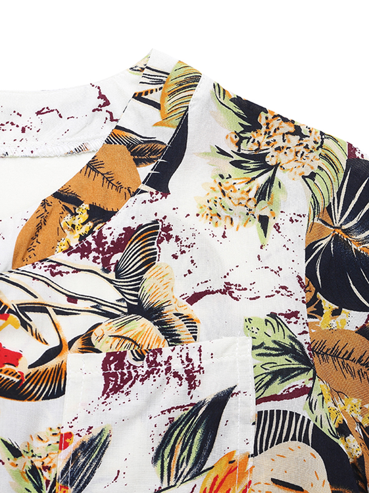 Patchwork Short Sleeve Rayon Blouses4