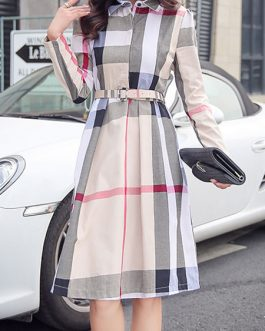 Plaid Shirt Dress Long Sleeve Turndown Collar Long Dress