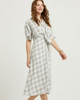 Plaid Shirt Dress Short Sleeve Round Neck Buttons Casual Dress