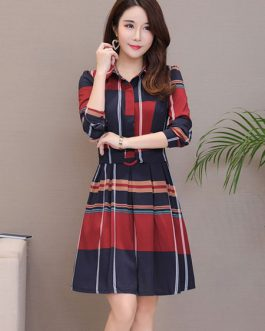 Plaid Shirt Dress Turndown Collar Buttons Skater Dress