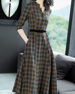 Plaid Shirt Dress V Neck Buttons Green Maxi Dress