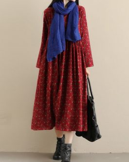 Pockets Floral Print Vintage Dress