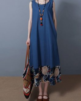Print Patchwork Sleeveless Vintage Dresses