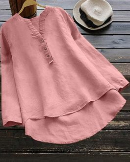Pure Color Cotton Vintage Blouse
