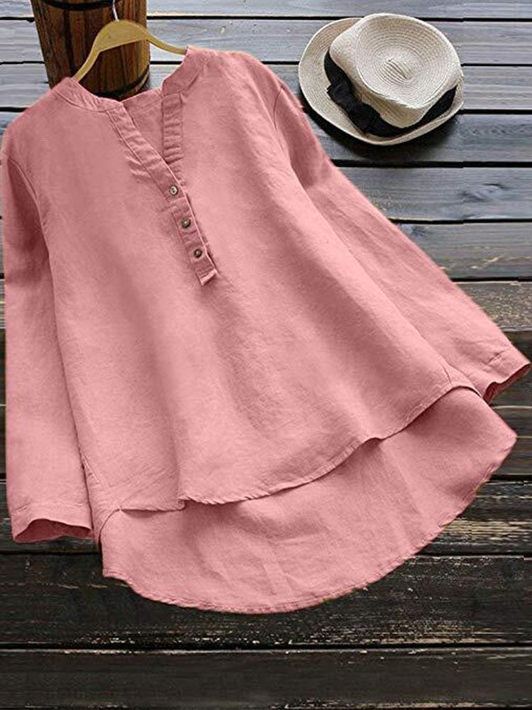 Pure Color Cotton Vintage Blouse