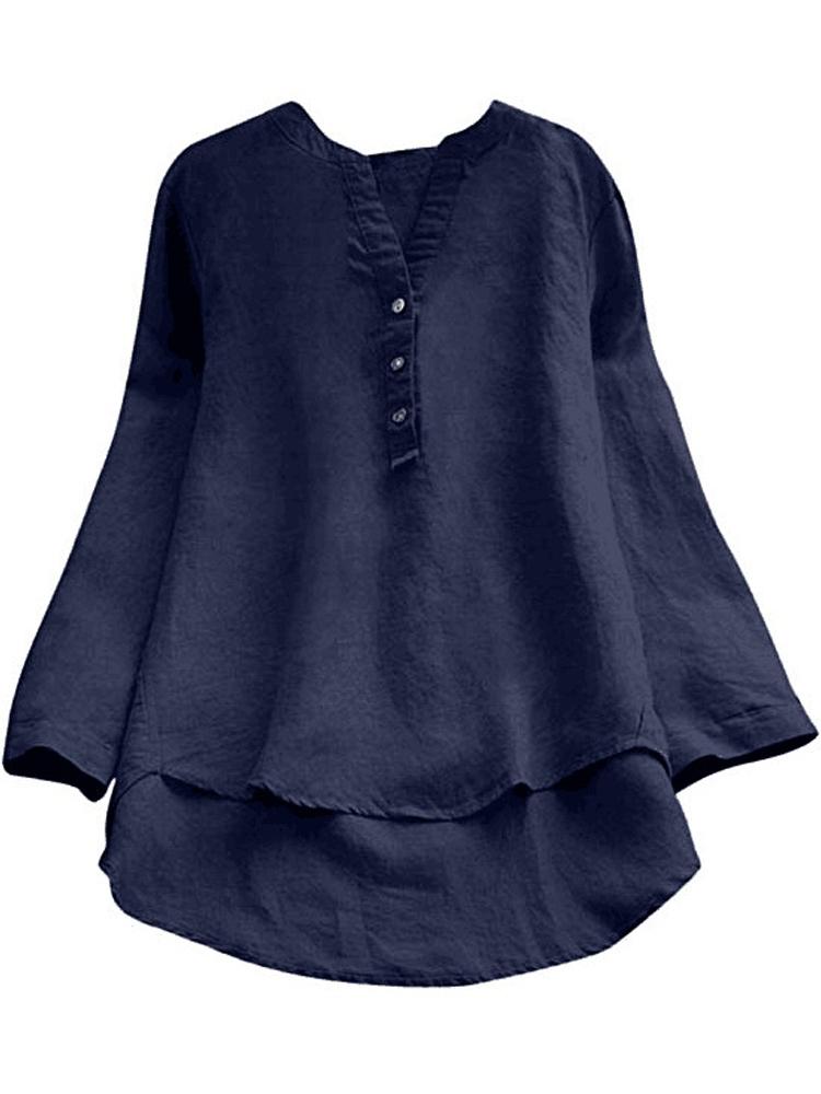 Pure Color Cotton Vintage Blouse1