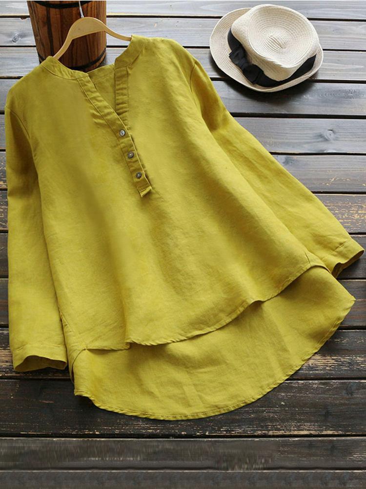 Pure Color Cotton Vintage Blouse2