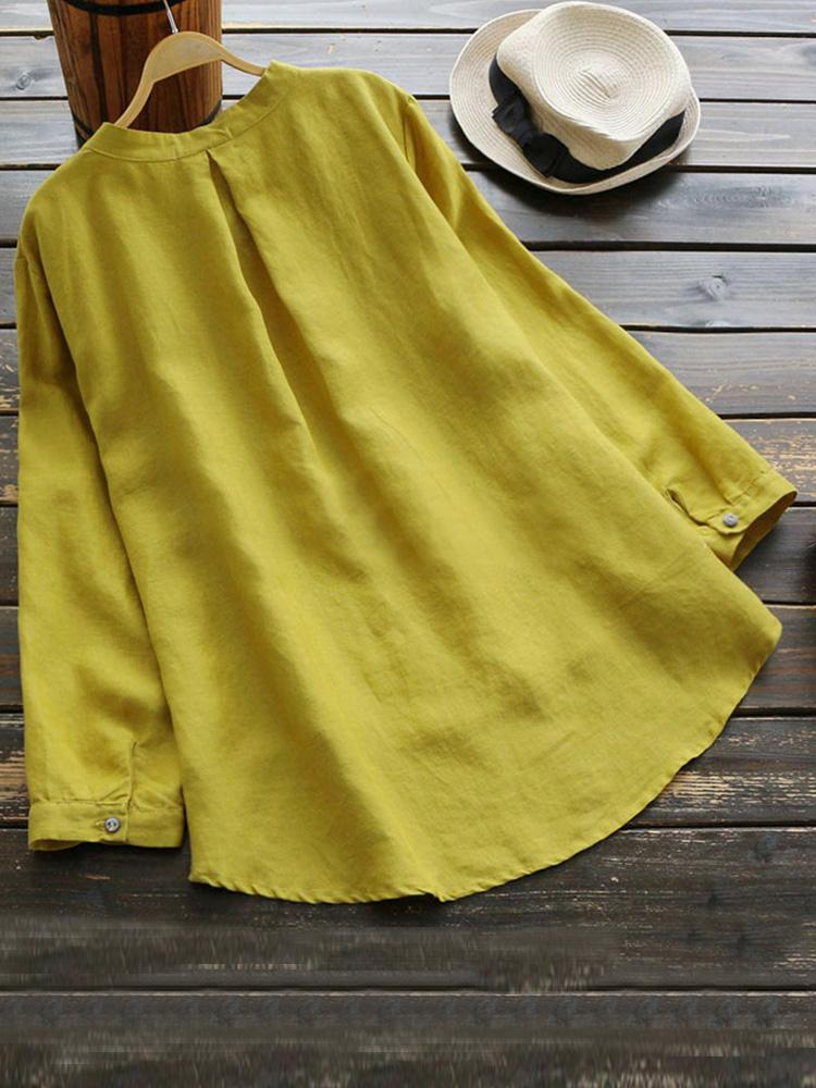 Pure Color Cotton Vintage Blouse3