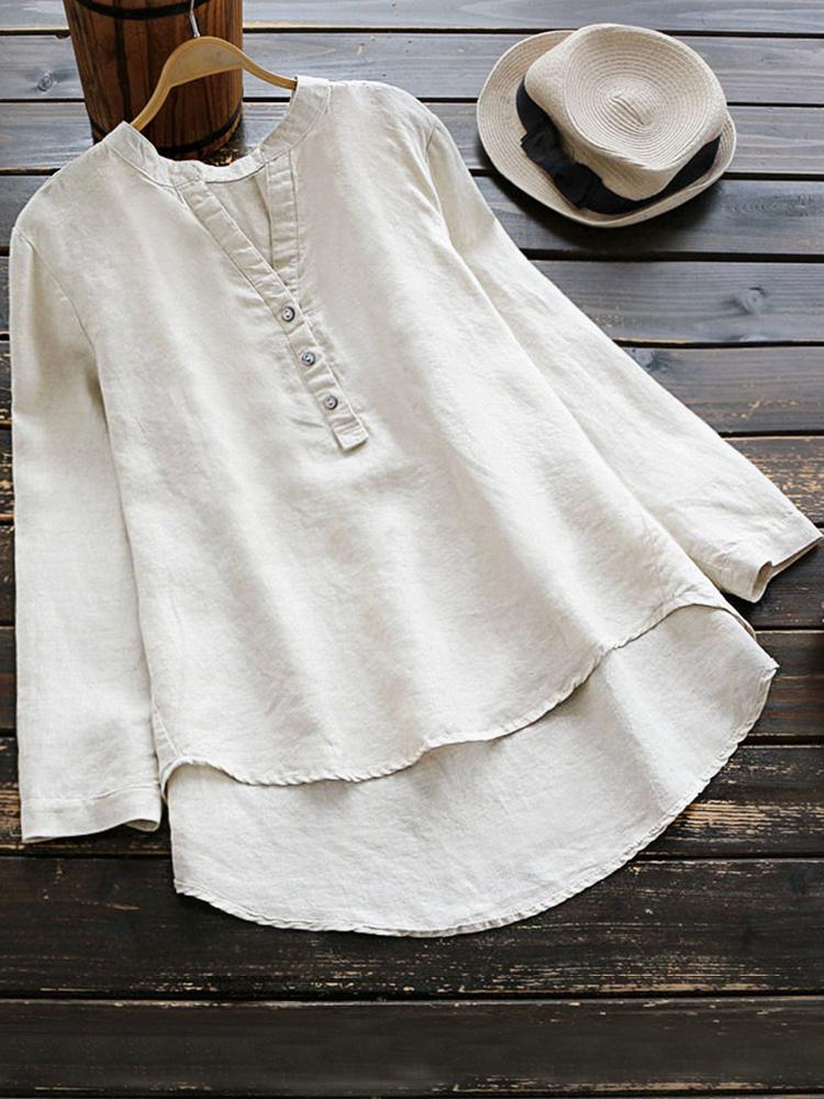 Pure Color Cotton Vintage Blouse4