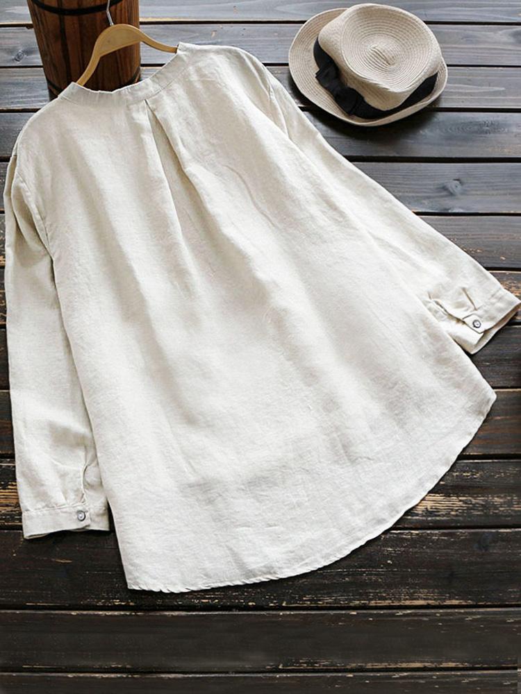 Pure Color Cotton Vintage Blouse5