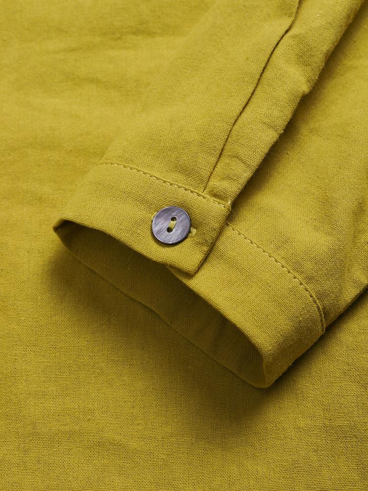 Pure Color Cotton Vintage Blouse7