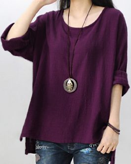 Pure Color Side Slit Baggy Shirts
