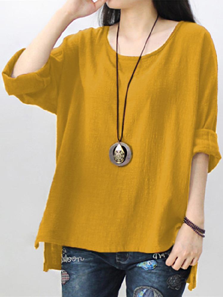 Pure Color Side Slit Baggy Shirts2