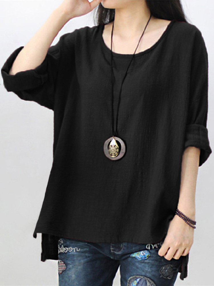 Pure Color Side Slit Baggy Shirts3