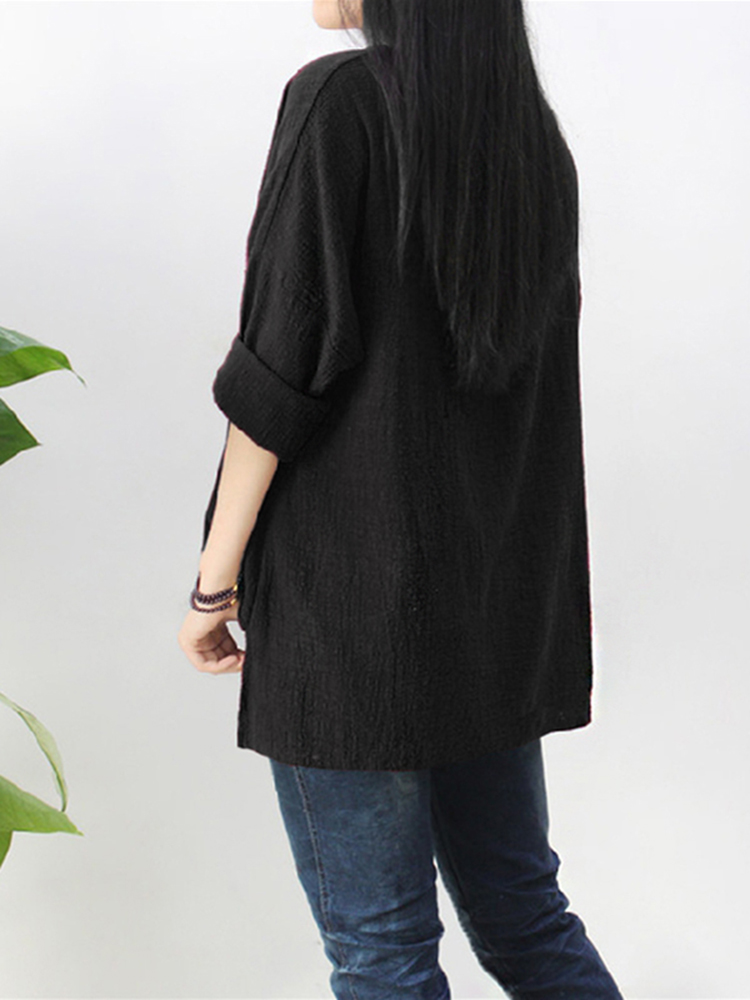 Pure Color Side Slit Baggy Shirts5