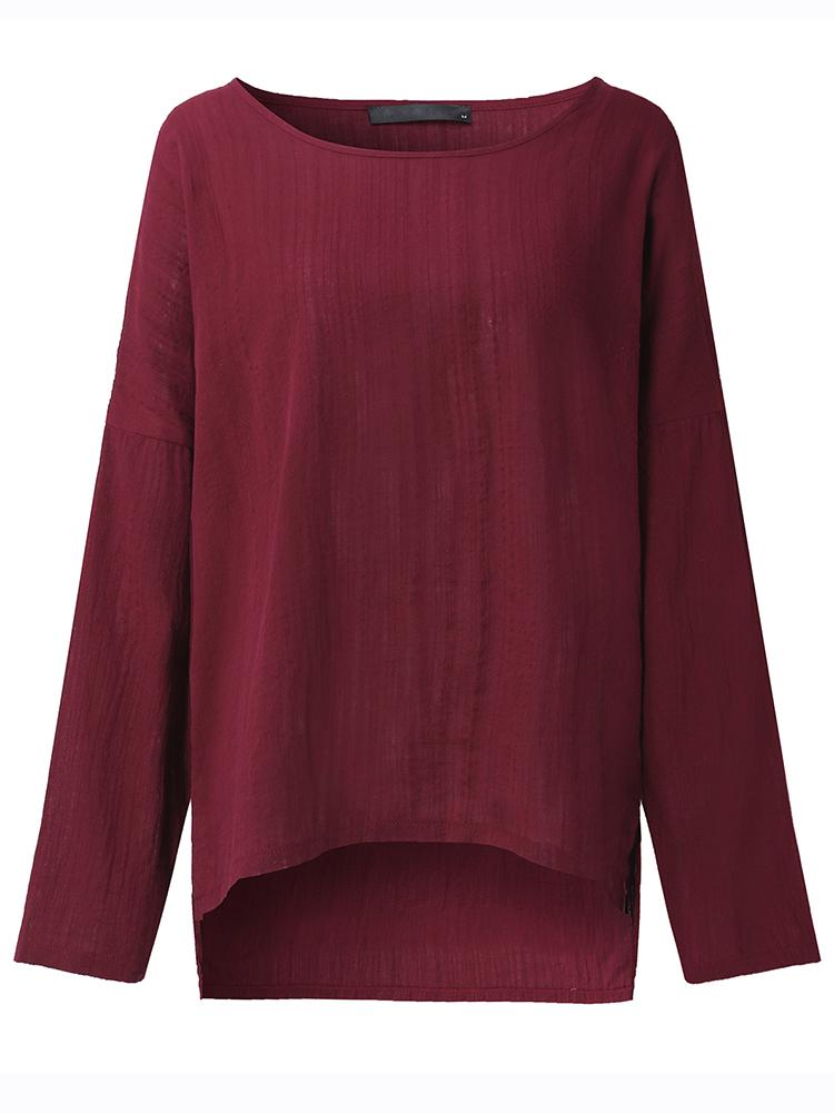 Pure Color Side Slit Baggy Shirts6