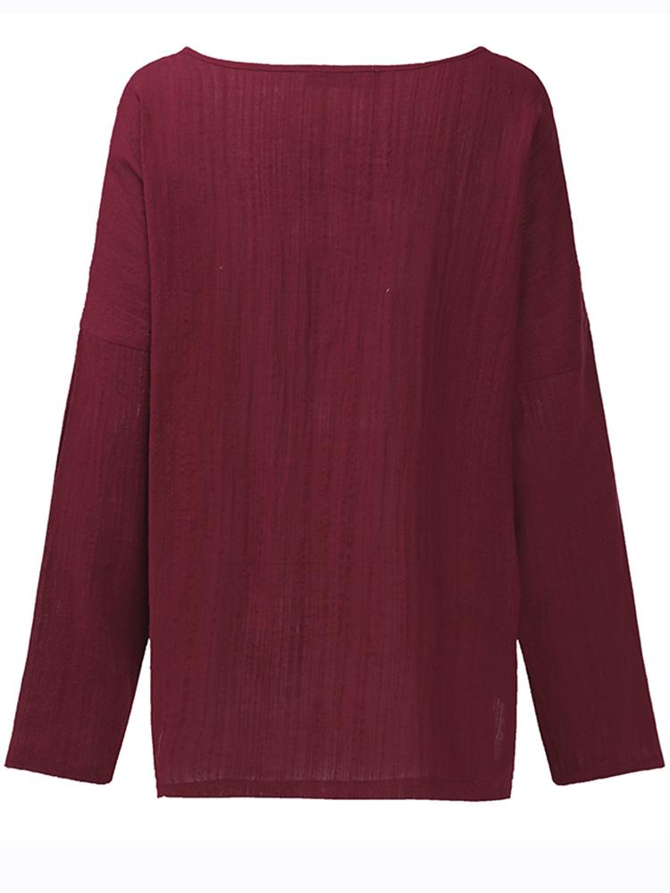 Pure Color Side Slit Baggy Shirts7