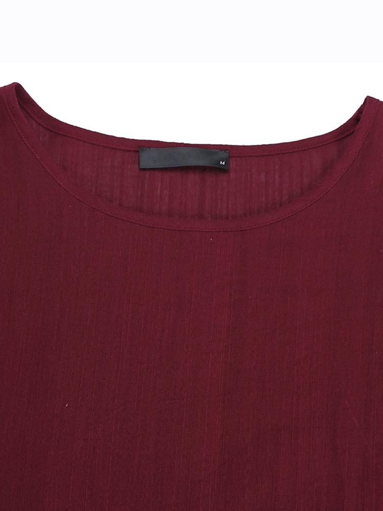 Pure Color Side Slit Baggy Shirts8