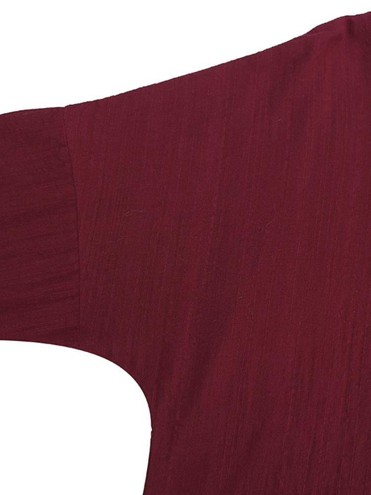 Pure Color Side Slit Baggy Shirts9