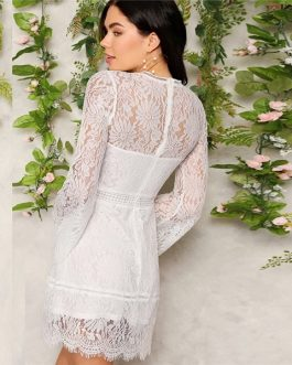Romantic White Floral Lace Overlay Spring Dresses