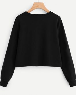 Round Neck Casual Fall Women Sweatshirt