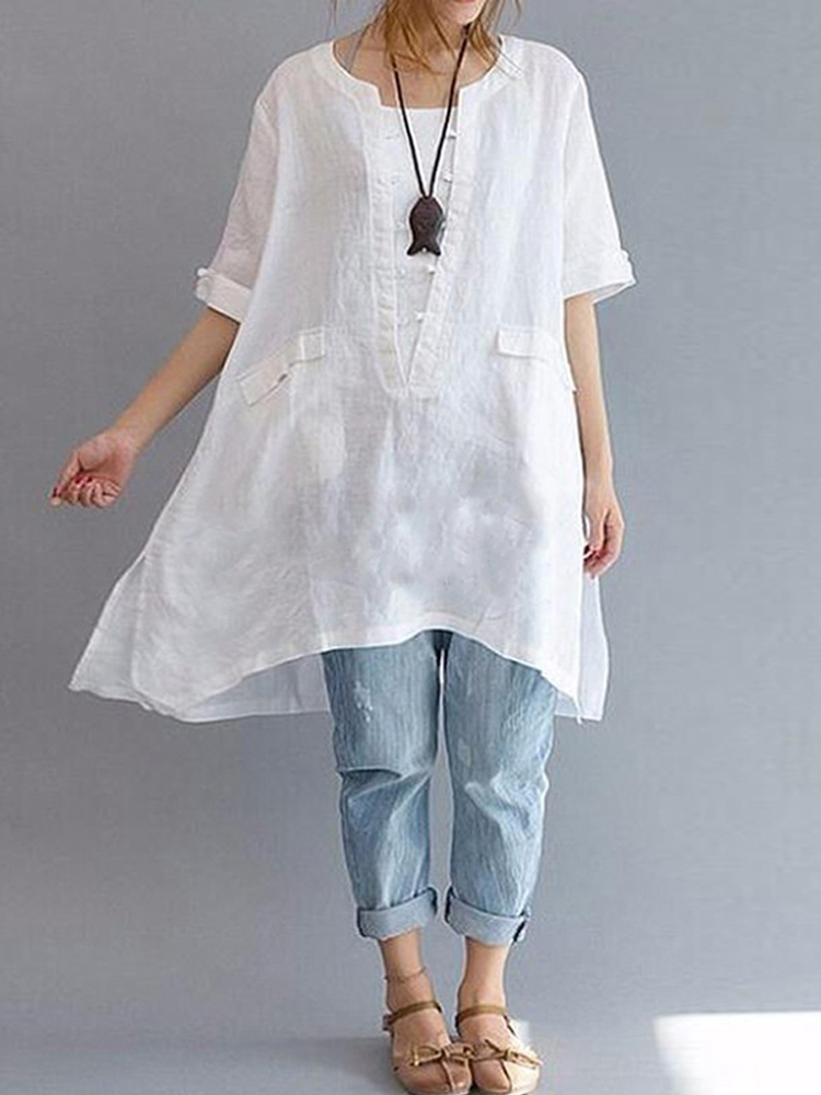 Short Sleeve Loose Solid Blouse