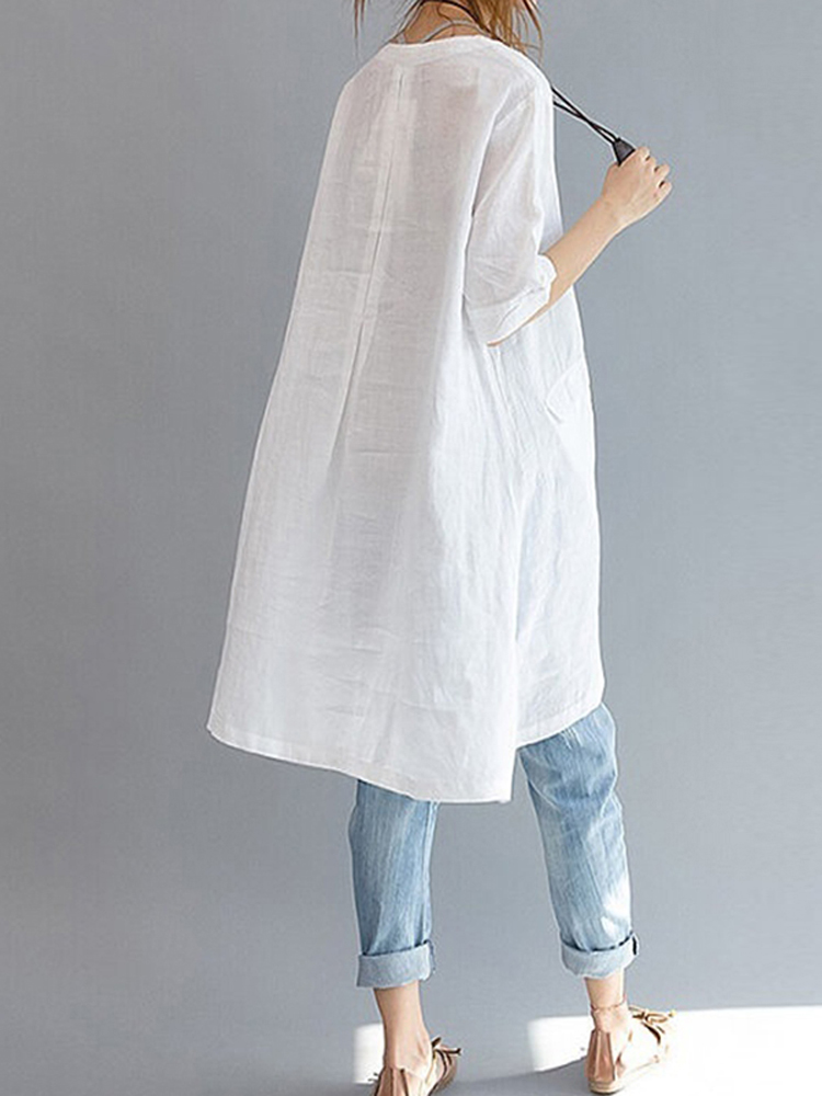 Short Sleeve Loose Solid Blouse1