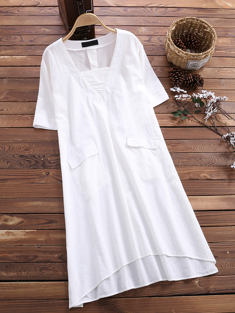 Short Sleeve Loose Solid Blouse3