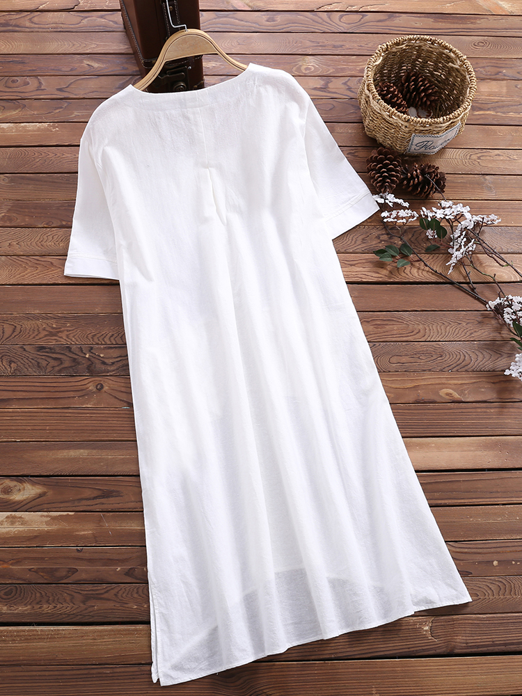 Short Sleeve Loose Solid Blouse4