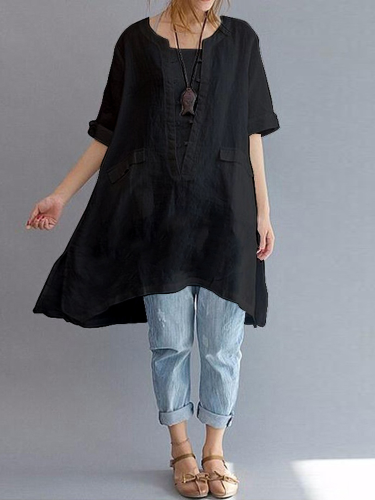 Short Sleeve Loose Solid Blouse5