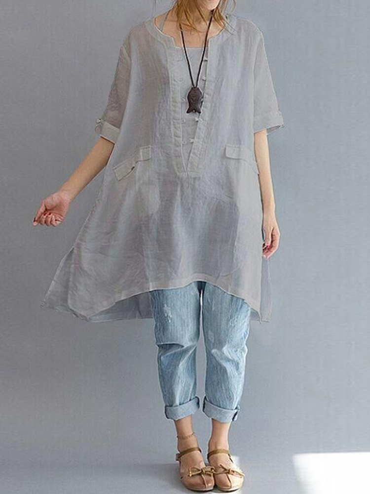 Short Sleeve Loose Solid Blouse6