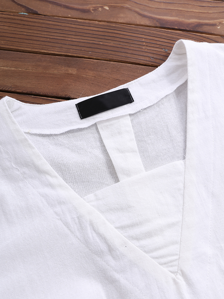 Short Sleeve Loose Solid Blouse7