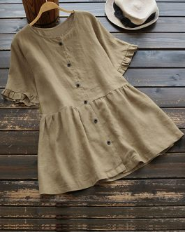 Short Sleeve Round Neck Blouse